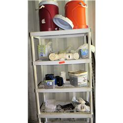 Plastic Shelf and Contents (cooler, PVC fittings, hardware, etc.)