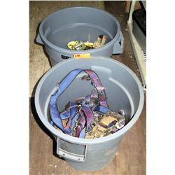 2 Plastic Garbage Bins & Ratchet Straps