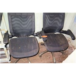 Qty 2 Rolling Office Chairs (one missing armrest)