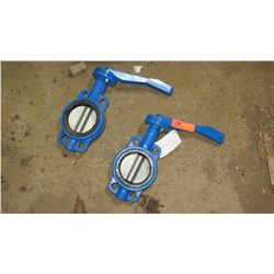 Qty 2 Butterfly Valves, Unused, Dark Blue