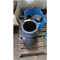 Qty 6 Misc. Large PVC Black Fittings