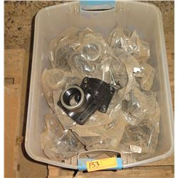 Contents of Tub: Black Plastic PVC Fittings for Water Trough Lines