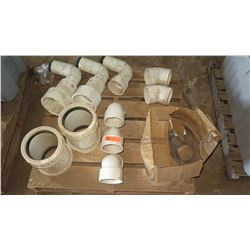 Contents of Pallet: Large White PVC Fittings, Approx. Qty 10