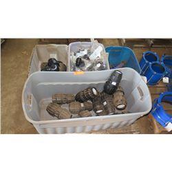 Qty 4 Plastic Tubs w/ PVC Fittings