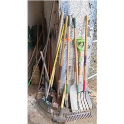 Large Lot of Rakes, Pitchforks, Shovels, Spade, Brooms, etc.