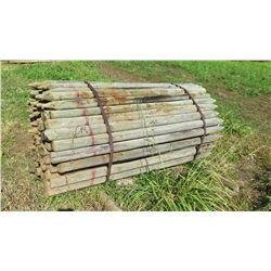"Qty 100 ""Small"" Pointed Wooden Fence Posts (83"" L, 3"" to 4"" Dia.)"