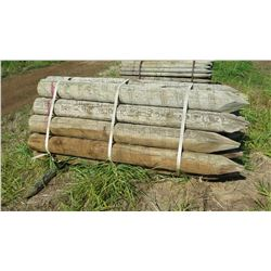 "Qty 35 ""Medium"" Pointed Wooden Fence Posts (8' L, 6"" to 7"" Dia.)"