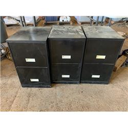 3 Black Metal File Cabinets