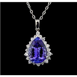GIA Cert 18.21 ctw Tanzanite and Diamond Pendant With Chain - 14KT White Gold