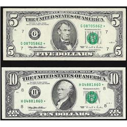 Set of 1995 $5 & $10 Federal Reserve STAR Notes