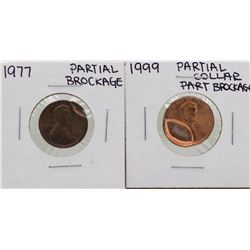 Lot of 1977 Partial Brockage & 1999 Partial Collar Brockage Lincoln Cent ERROR C