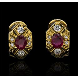 1.40 ctw Ruby and Diamond Earrings - 18KT Yellow Gold