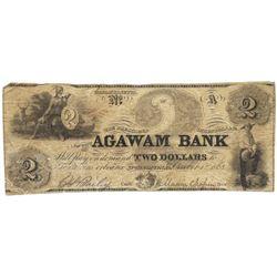 1863 $2 Agawam Bank, Springfield, MA Obsolete Bank Note