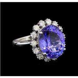 14KT White Gold 7.48 ctw Tanzanite and Diamond Ring