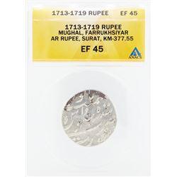 1713-1719 Rupee Mughal Farrukhsiyar AR Surat Coin ANACS EF45