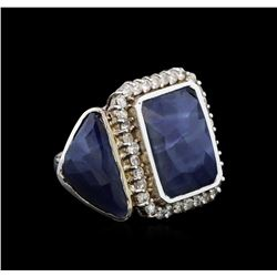 14KT White Gold 20.59 ctw Sapphire and Diamond Ring