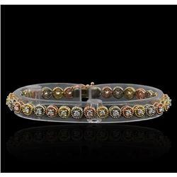 1.65 ctw Diamond Bracelet - 14KT Tri Color Gold