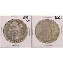 Lot of 1881 & 1881-S $1 Morgan Silver Dollar Coins