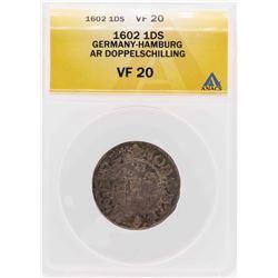 1602 Germany-Hamburg AR Doppelschilling Coin ANACS VF20