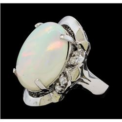 15.82 ctw Opal and Diamond Ring - 14KT White Gold