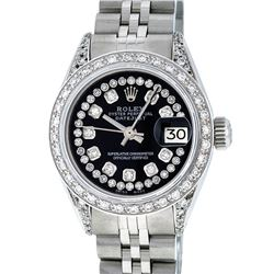 Rolex Ladies Stainless Steel 26MM Black Diamond Lugs Datejust Wristwatch