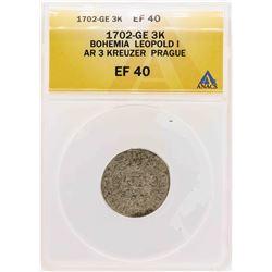 1702-GE Bohemia Leopold I AR 3 Kreuzer Prague Coin ANACS XF40