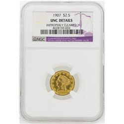1907 $2 1/2 Liberty Head Quarter Eagle Gold Coin NGC Unc Details