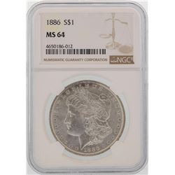 1886 $1 Morgan Silver Dollar Coin NGC MS64
