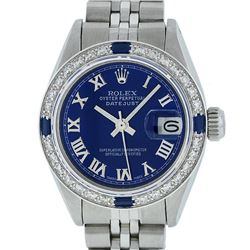 Rolex Ladies Stainless Steel Blue Diamond & Sapphire Datejust Wristwatch