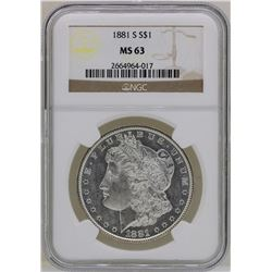 1881-S $1 Morgan Silver Dollar Coin NGC MS63