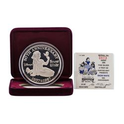 1987 Rarities Mint Walt Disney Snow White 50th 5 oz .999 Silver Coin w/Box & COA