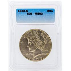 1935-S $1 Peace Silver Dollar Coin ICG MS63