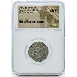 58 BC Indo Scythians Azes I/II AR Tetradrachm Coin NGC Ch F