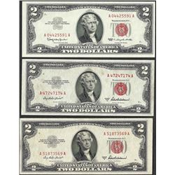 Lot of (3) 1953/1963 $2 Legal Tender Notes