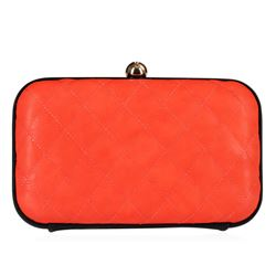 Coral Tufted Evening Clutch