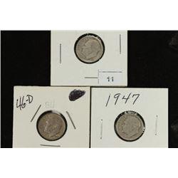 1946,46-D & 47 SILVER ROOSEVELT DIMES