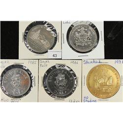 5 ASSORTED CANADA TRADE DOLLARS UNC 1997