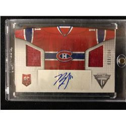 2013-14 PANINI TITANIUM HOCKEY #HS-BG BRENDAN GALLAGHER JERSEY & AUTO HOCKEY CARD