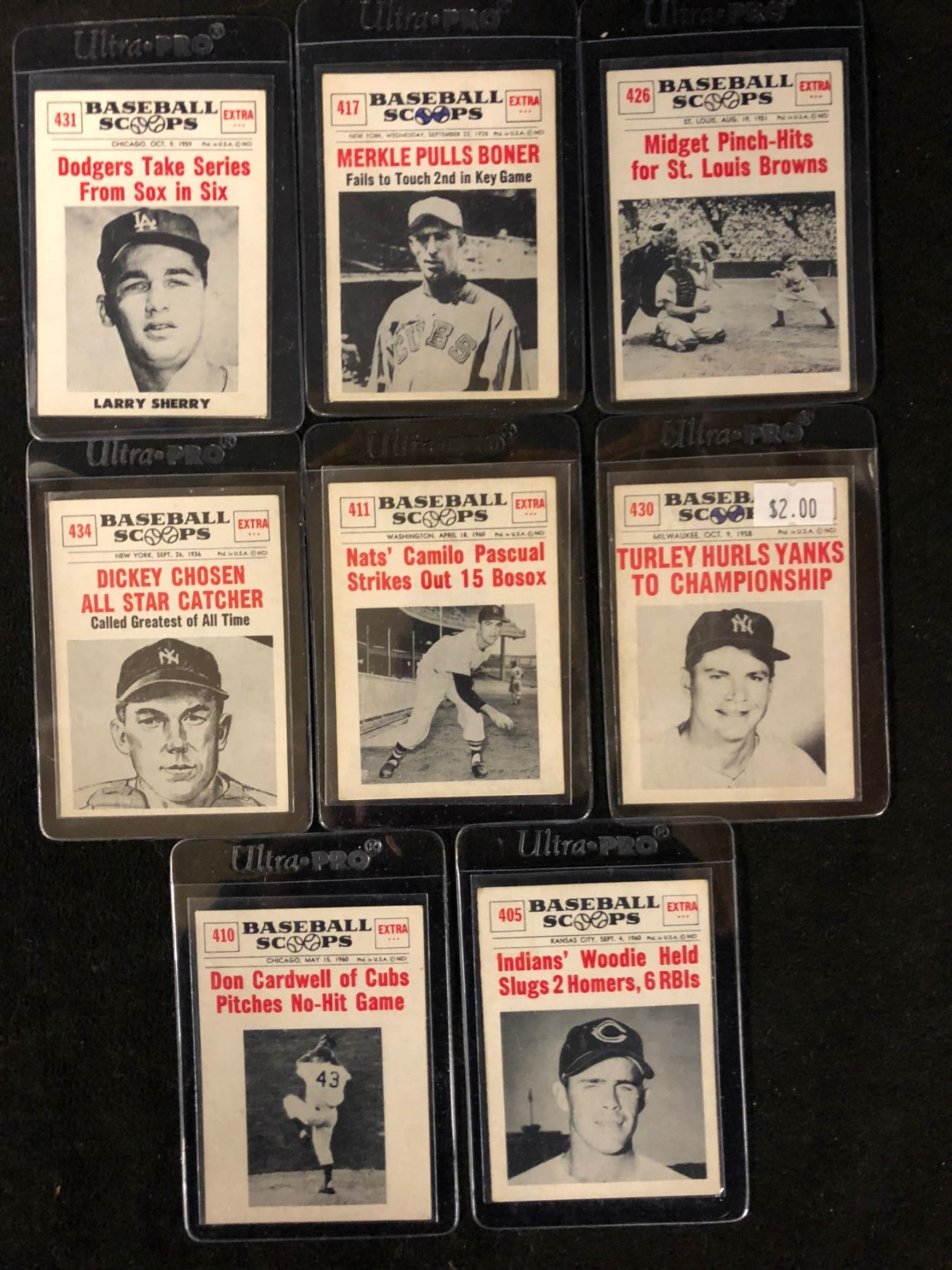 1961 Nu Cards Baseball Scoops Card Lot