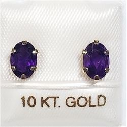 10K YELLOW GOLD AMETHYST EARRINGS