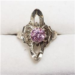 STERLING SILVER PINK CZ RING SIZE 6