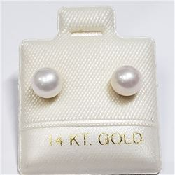 14K YELLOW GOLD CULTURED PEARLS EARRINGS