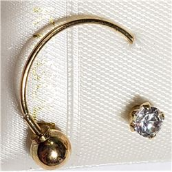 14K YELLOW GOLD CZ BELLY BUTTON RING