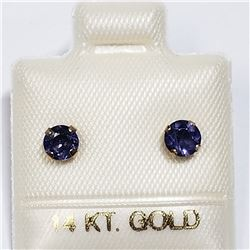 14K YELLOW GOLD IOLITE EARRINGS