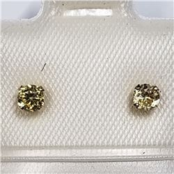 14K WHITE GOLD YELLOW CZ EARRINGS