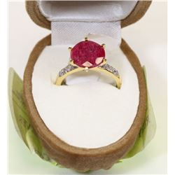 GOLD-PLATED STERLING SILVER RUBY CZ RING 6.25