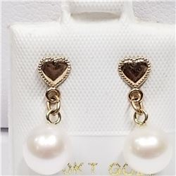 10K YELLOW GOLD FRESHWATER PEARL EARRINGS
