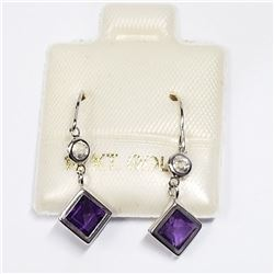 10K WHITE GOLD AMETHYST MOONSTONE EARRINGS