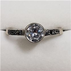 STERLING SILVER CZ MARCASITE RING SIZE 7