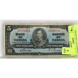 1937 CANADIAN 5 DOLLAR BILL